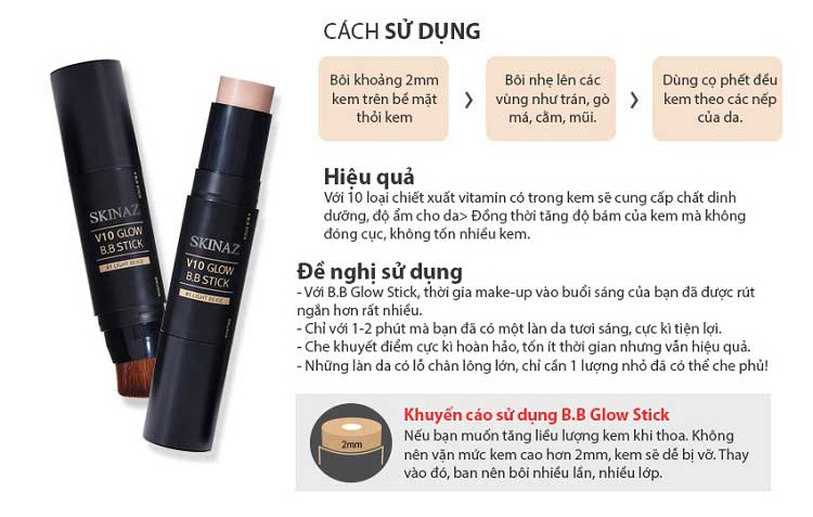 Cách Dùng Kem Nền Skinaz V10 Glow BB stick