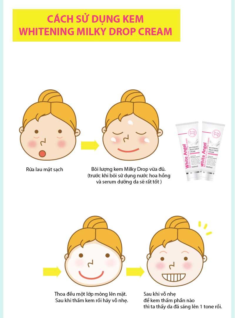 Cách dùng Kem White Angel Skinaz PH 5.5 Hàn Quốc