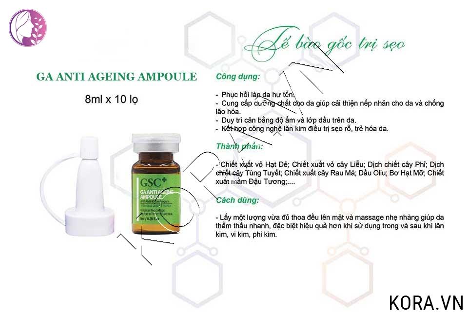 Cách dùng tế bào gốc trị sẹo GSC Ga Anti Ageing Ampoule