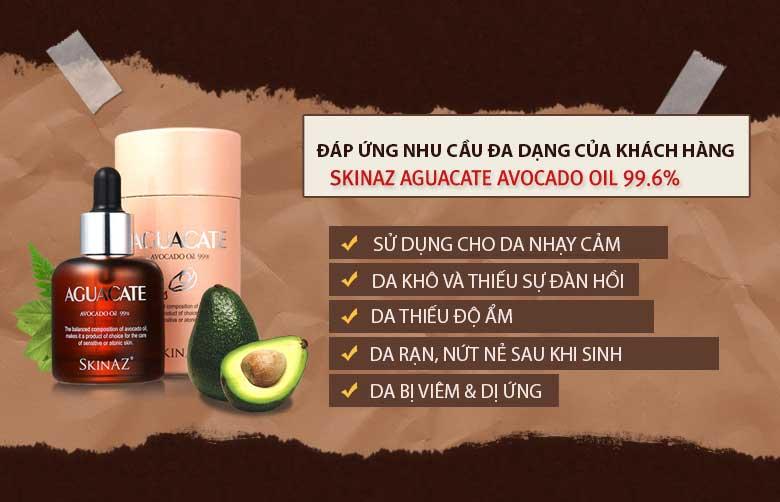 Tác dụng của tinh chất bơ Skinaz Aguacate Avocado Oil 99,6% Hàn Quốc