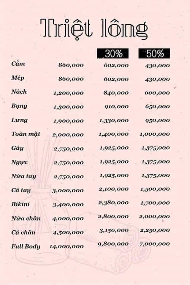 bảng giá dịch vụ triệt lông tại nam định